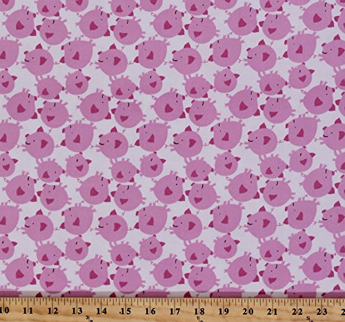 Corduroy David Walker Get Together Pig Toss Pink Pigs Piglets Piggy White Fabric By the Yard (Piglet Fabric)