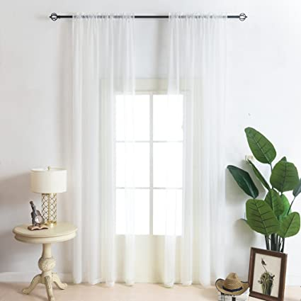 MeiCotton Bedding 2 Piece Ivory Sheer Curtains