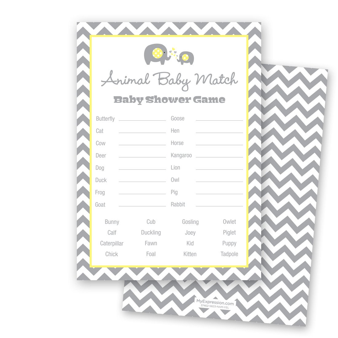 24 Chevron Elephant Baby Shower Animal Name Game Cards (Yellow) by MyExpression.com (Image #1)