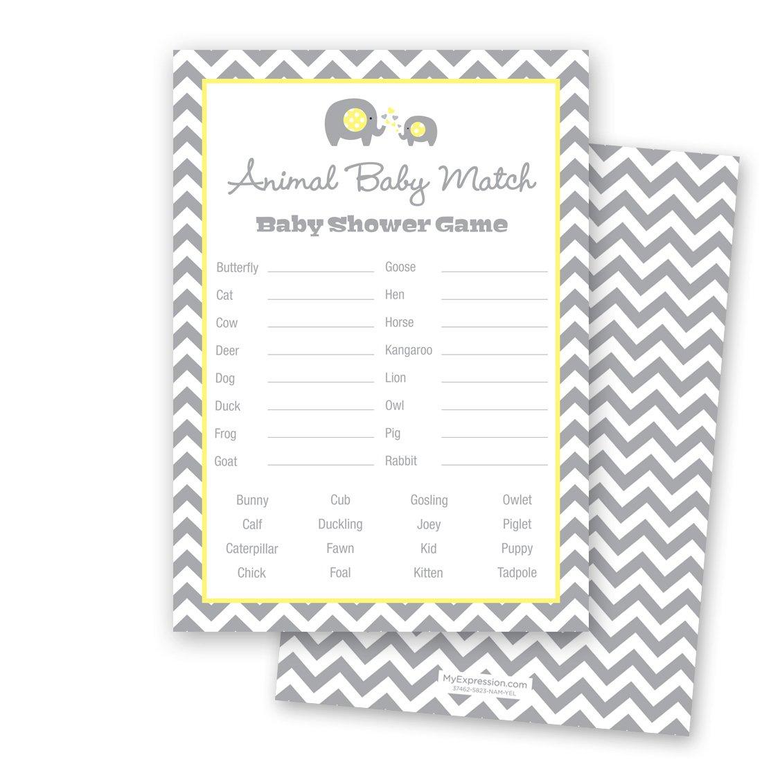 24 Chevron Elephant Baby Shower Animal Name Game Cards (Yellow)