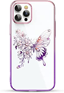Queenxbar Luxury Butterfly Series Clear Hard PC Phone Case with Sparkle Pearl Edge & Crystals fior iPhone 12 Pro Max 6.7 inch Shockproof Gold Plated Phone Covers for Women Girls