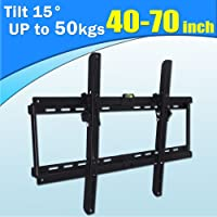 TV Wall Mount Steel Bracket Tilt 15°, Size Adjustable Wall Rack for 40 to 70 Inches TV, Black