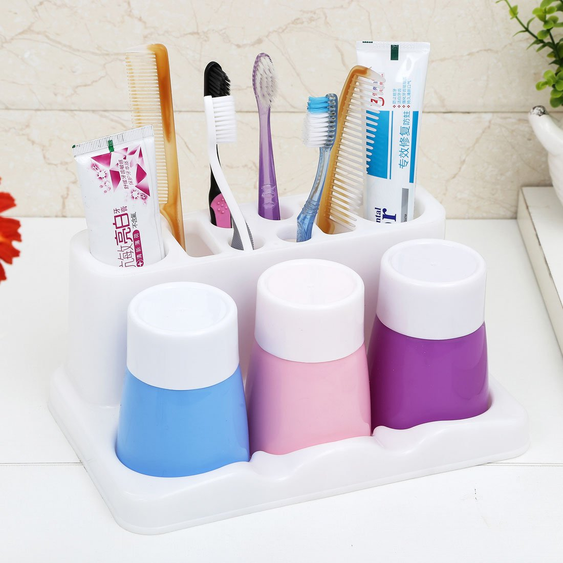 YIUHART Simple Toothbrush Holders for Bathroom Storage (White base+mixed color cups)
