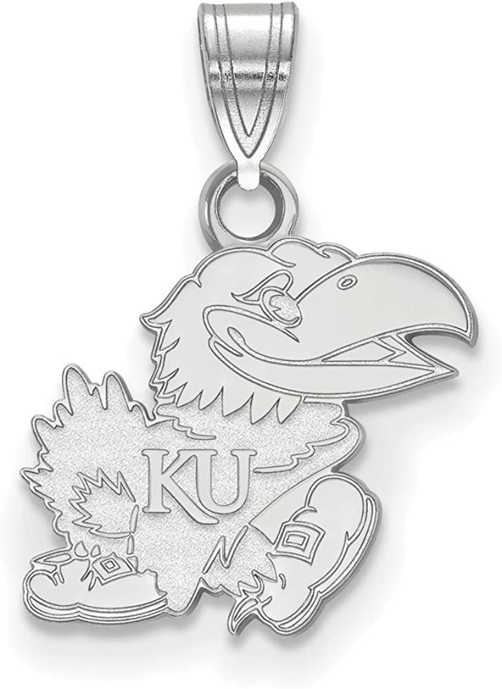 Solid 925 Sterling Silver Official University of Kansas Small Pendant Charm 18mm x 13mm