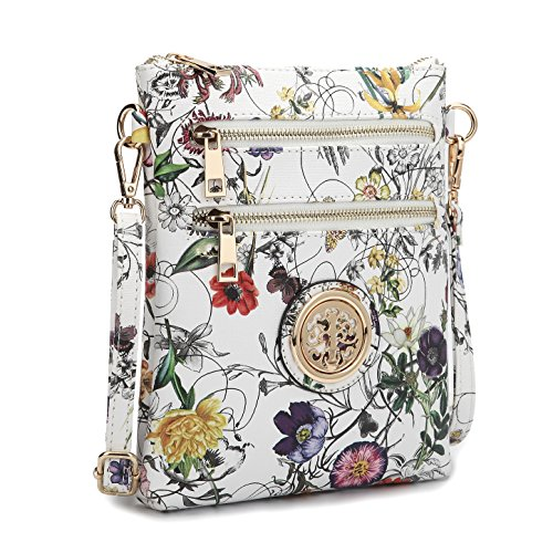 Lady Small Crossbody Bag Purse Lightweight Multi Pocket Shoulder Bag Messenger Bag Faux Leather White (Floral Print Leather)