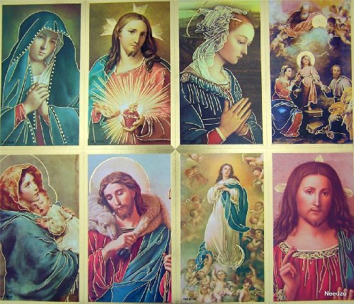Pack of 1000 (125 Sheets) Assorted All Saints Jesus Christ with Marian Icon Gold Foil Perforated Holy Cards ()