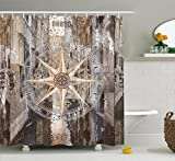 Marine Life Shower Curtain by Ambesonne, Navy Sea Life Yacht Theme Colored Wood Backdrop with Rudder like Compass Image, Fabric Bathroom Decor Set with Hooks, 70 Inches, Brown