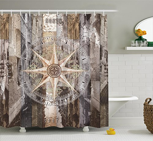 Marine Life Shower Curtain by Ambesonne, Navy Sea Life Yacht Theme Colored Wood Backdrop with Rudder like Compass Image, Fabric Bathroom Decor Set with Hooks, 75 Inches Long, (Rudder Set)