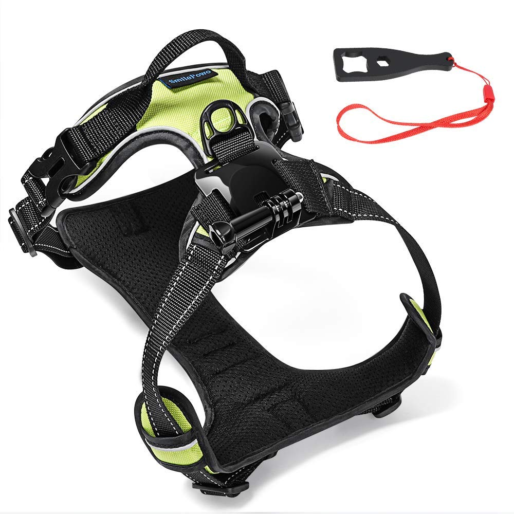 SmilePowo Dog Harness Chest Back Strap Belt Mount Pet Vest for GoPro Hero 7 6 5 4 3 Black,Hero 2018 Session Fusion,AKASO, Xiaomi, DBPOWER, Lightdow, Sports Action Camera for Dogs Night Walk-Green by SmilePowo