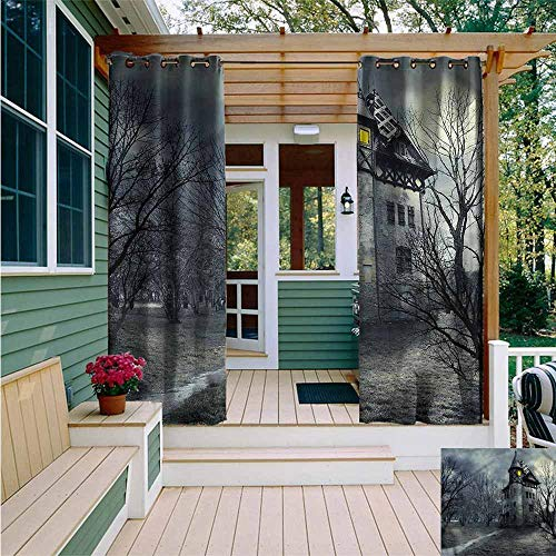 Beihai1Sun Outdoor Curtain Panel for Patio,Halloween Gothic Haunted House,Room Darkening, Noise Reducing,W72x108L -
