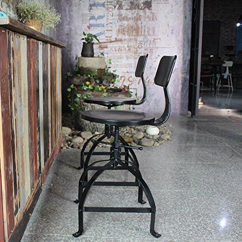 Fesjoy Chaise de Bar Noire de Style Industriel réglable en