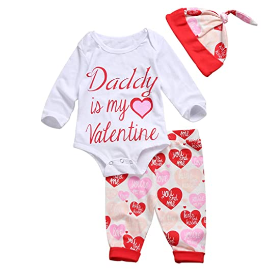 0444ee04e723 Amazon.com  Daddy is My Valentine Outfit Newborn Baby Girls Romper ...