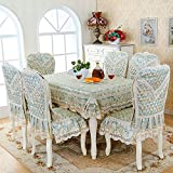 HuaShao HuaShaoThe Simplicity Of The Rectangular Living Room, Dining Table And Chairs Set Sewing Kit Home Chairs And Cover, The Green, 4, 4 The &180Cm Diameter Round Table Cloth