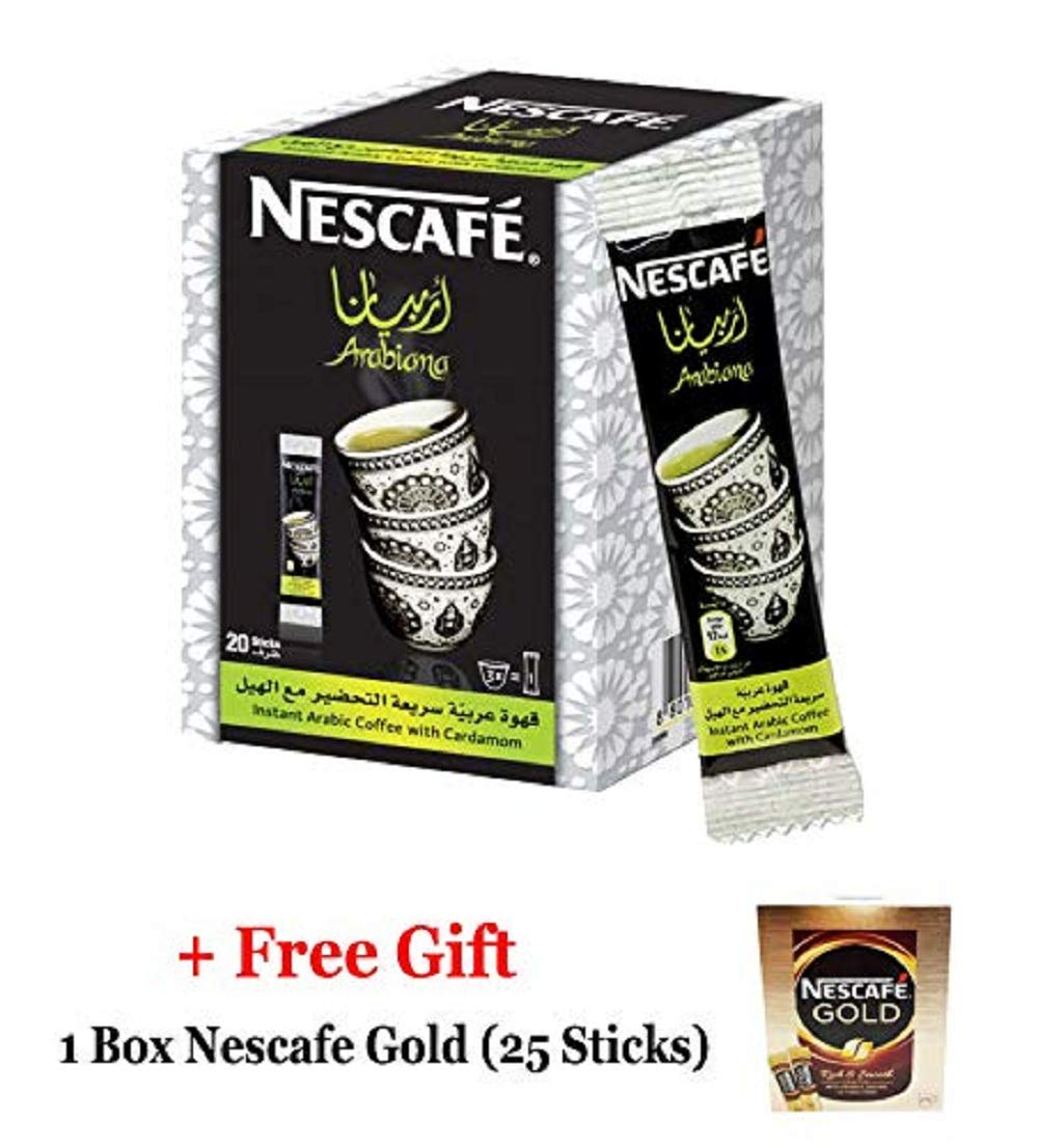 Instant Nescafe Arabiana Arabic Coffee Mix With Cardamom Flavor (1 Box (20 Sticks))