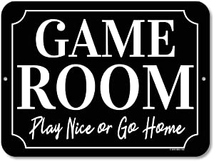 Honey Dew Gifts Game Room Decor, Play Nice or Go Home 9 x 12 inch Metal Aluminum Novelty Tin Sign Decor