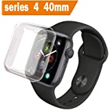 ALOUCH Case for Apple Watch Series 4 Screen Protector 40mm, iWatch Overall Protective Case TPU Clear Ultra-Thin Cover, for Apple Watch Series 4 40mm