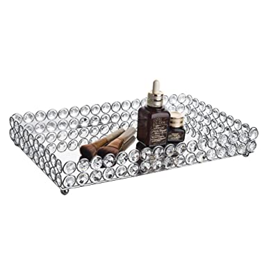 Feyarl Large Crystal Rectangle Mirrored Tray Cosmetic Vanity Tray Jewelry Organizer Tray Decorative Tray for Wedding Home Decoration (Silver)