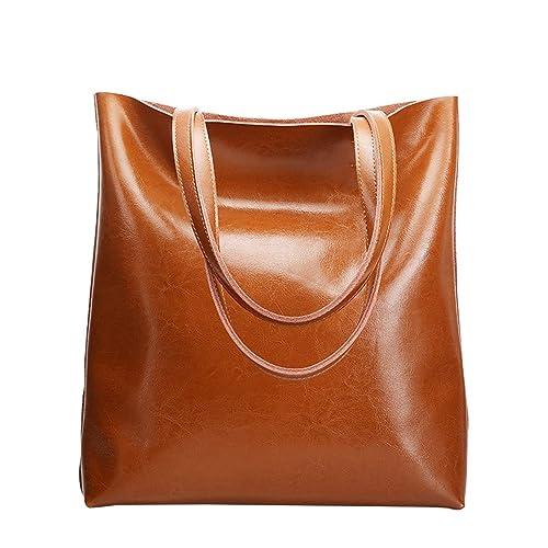 2a4b9d8e66e24f HJLY Leather Lederhandtaschen Einfache Einkaufstasche Große Kapazität  Mobile Einkaufstasche