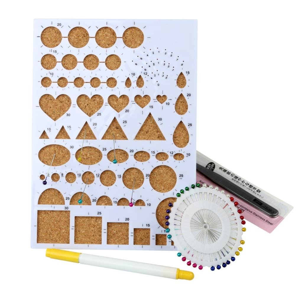 Covermason DIY Paper-Quilling Set Tools Template Mould Board Tweezer Pins Slotted Filigree/Mosaic Kit Art Craft (A)