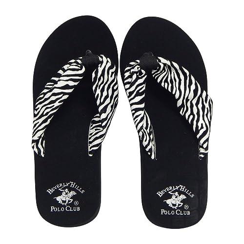 4d721eb08 Beverly Hills Polo Club RONA Women's Zebra Platform Wedge Flip Flop Sandal  Thong (6 US