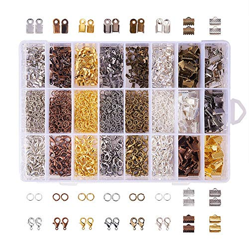 1 Box (About 2580 Pcs) Jewelry Making DIY Kit,Jewelry Findings Starter Kit,24 Style Jewelry Beading Making Kit.with Open Jump Ring,Lobster Clasp,Rope End and Ribbon End. (6 Colors)