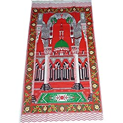 Portable Travel Prayer Mat Muslim Islamic Outdoor Namaz Sajadah Thin Cloth Red