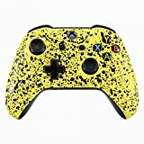 eXtremeRate Textured Yellow Faceplate Cover, 3D Splashing Front Housing Shell Case, Comfortable Non-Slip Replacement Kit for Xbox One S & Xbox One X Controller