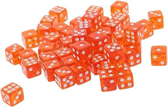IPOTCH 50X D6 Dados Poliédricos Dados Traslúcidos De 6 Lados Juegos De Mesa Dados Naranja: Amazon.es: Juguetes y juegos