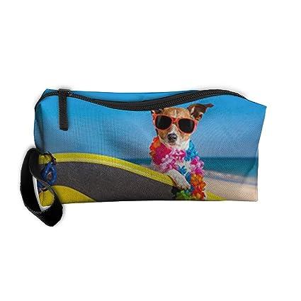 Perro en playa con un artista de tabla de surf de maquillaje organizador portátil bolsa de