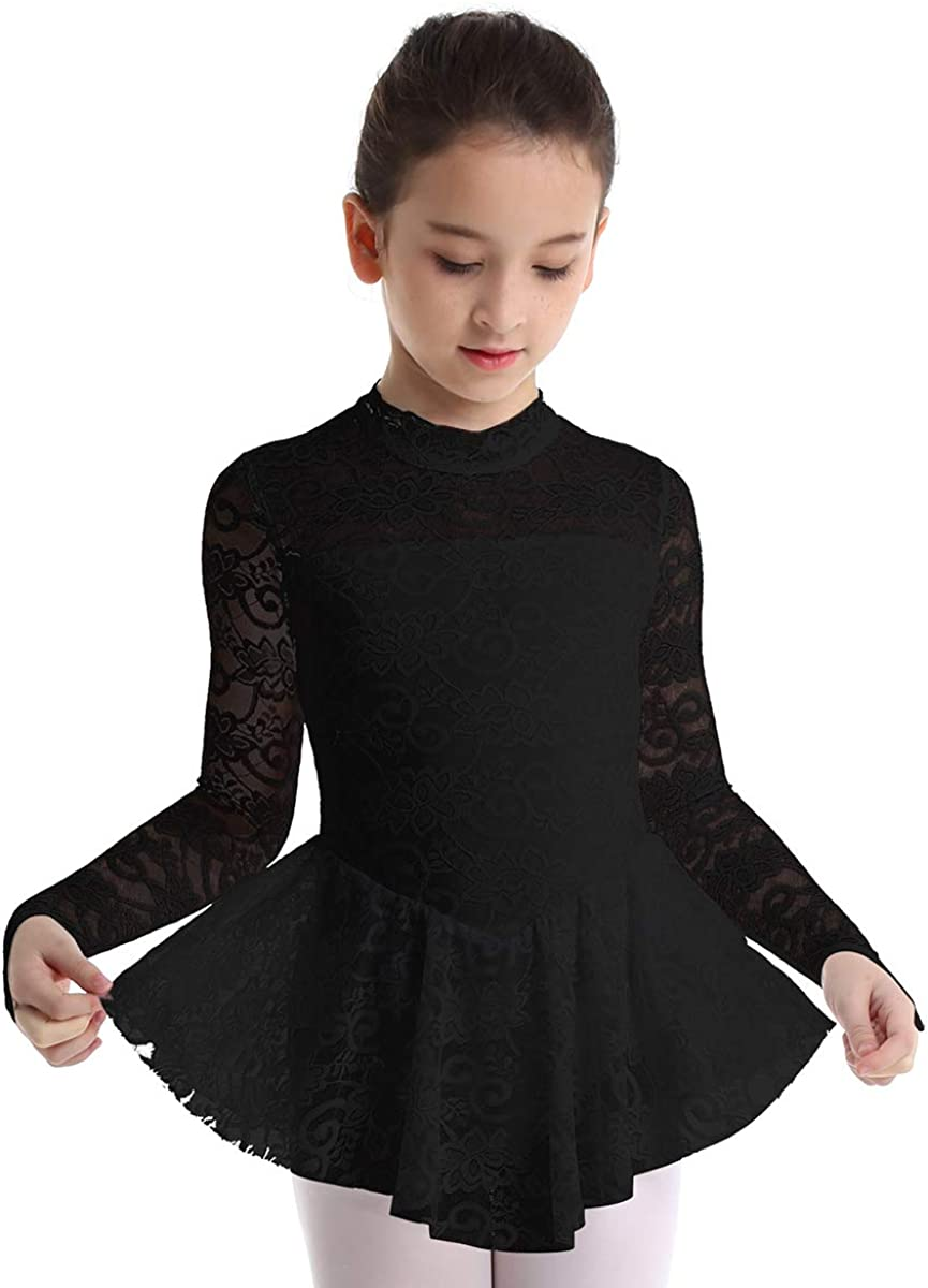 inhzoy Big Girls Kids Floral Lace Long Sleeve Mock Neck Ice Figure Skating Dress Gymnastic Tutu Skirted Leotard Costume