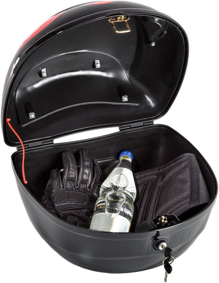 Tectake 401630 Motorradkoffer Topcase Roller Schwarz Auto