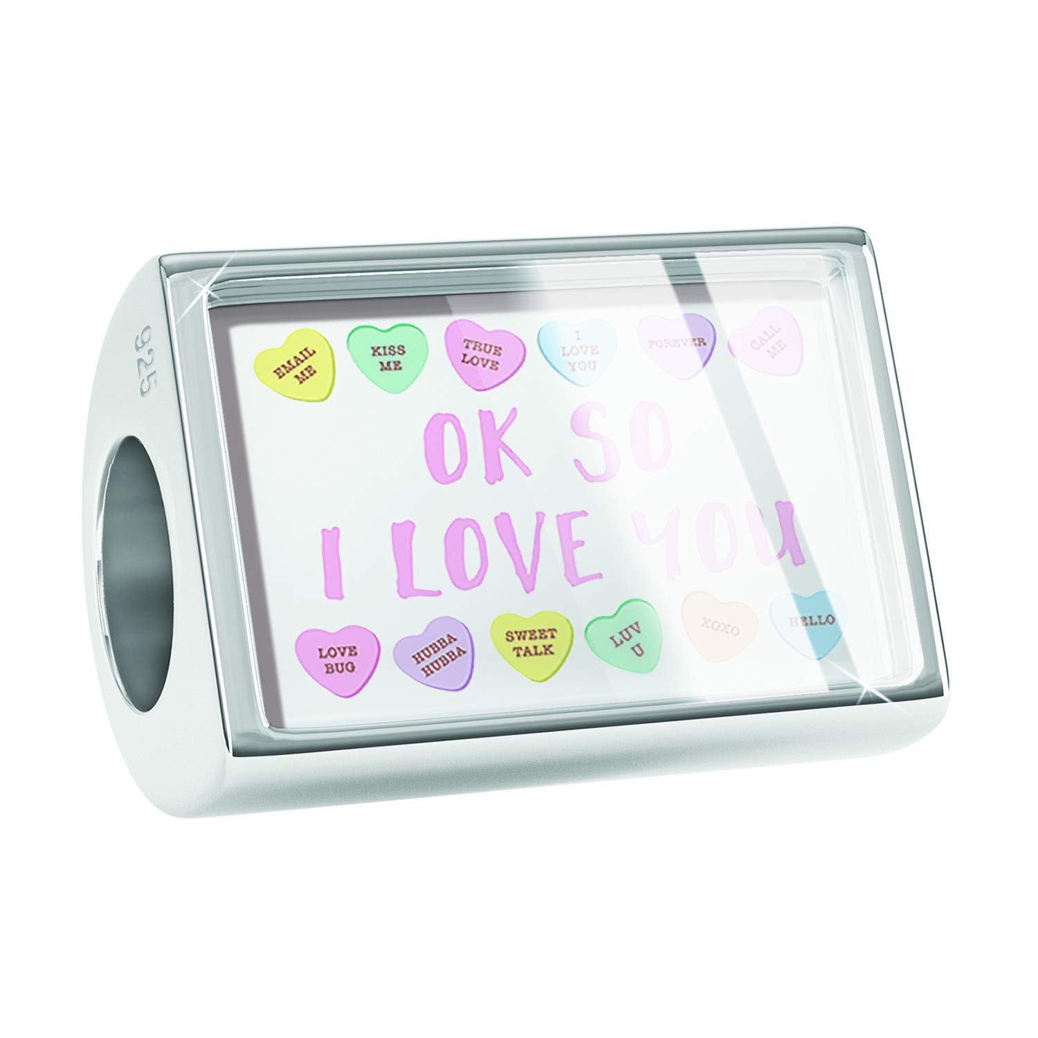NEONBLOND Custom Charm Ok So I Love You Valentines Day Conversation Hearts Border 925 Sterling Silver Bead