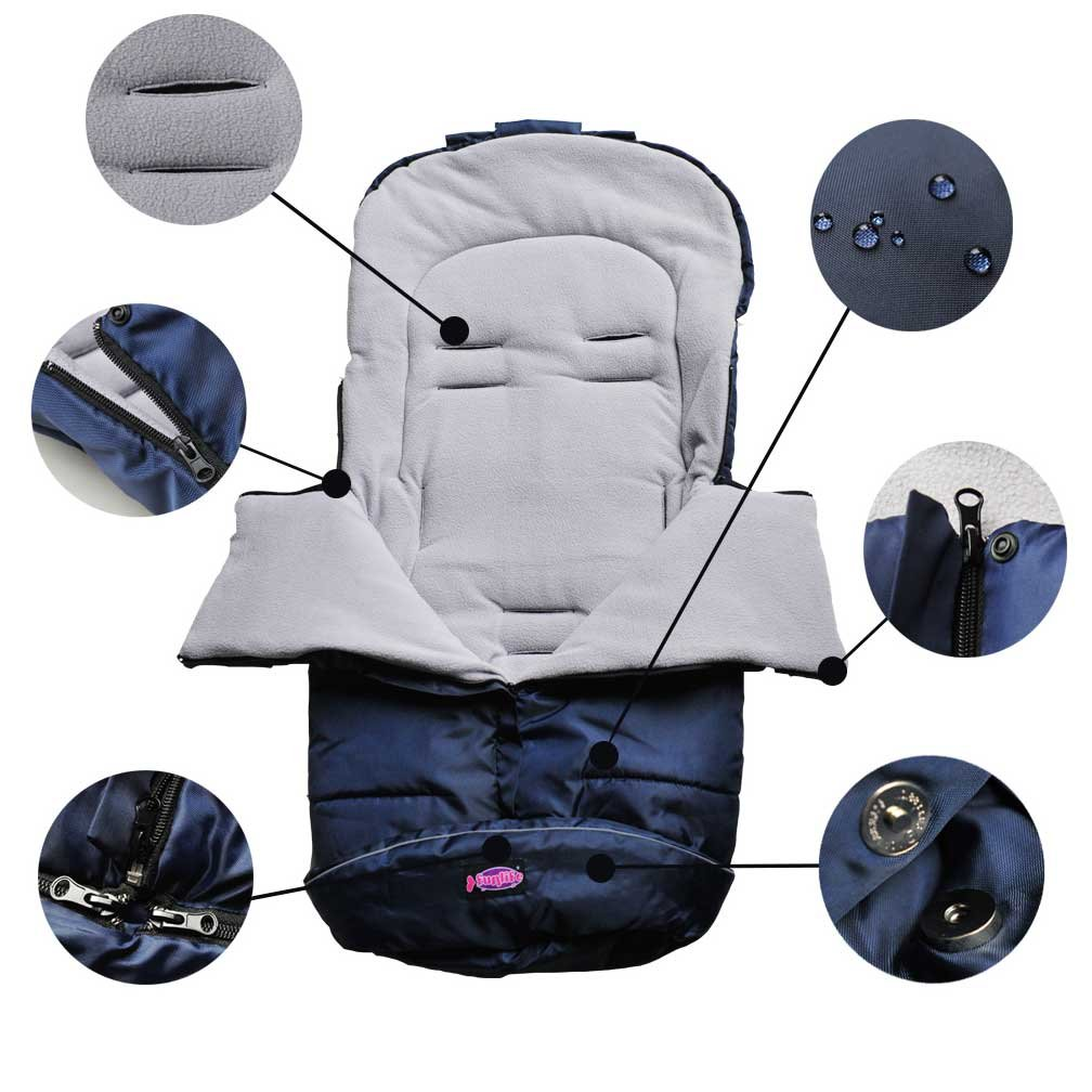 Universal Baby Stroller Footmuff Comes with Anti-freeze Hand Muff,Baby Bunting Bags and Hand Warmer Fits Most of Strollers Pushchairs Prams
