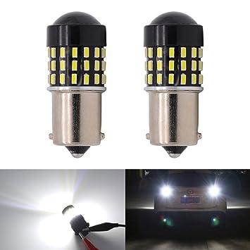 KaTur 2 Piezas Súper Brillante 1156 BA15S 7506 1073 1095 1141 3014 54SMD Lente Bombillas LED ...