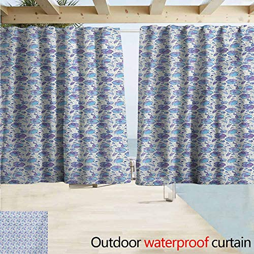 Outdoor waterproof curtains,Garden Art Abstract Swirls Background with Blooming Petals and Leaves Spring Flowers,Rod Pocket Energy Efficient Thermal Insulated,W72x45L Inches,Violet Blue Beige