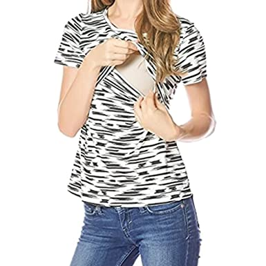 5597c64ce667e Women Maternity Nursing T-Shirt Crew Neck Layered Design Pregnant  Breastfeeding Top Short Sleeve: Amazon.co.uk: Clothing