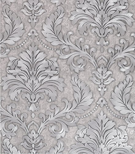 Fabric Texture Wallpaper - SICOHOME Non-Wave Fabric Embossed Texture Damask Wallpaper,Grey,11 Yards