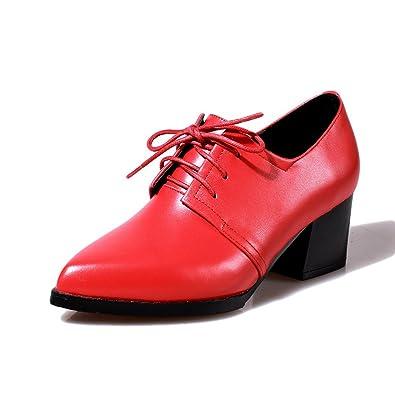 c745df03c91 BalaMasa Ladies Bandage Chunky Heels Thread Red PU Pumps-Shoes - 5.5 ...