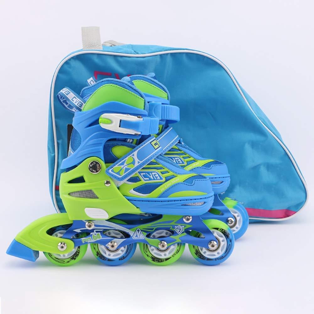 CVBフルフラッシュスケート、ストレート、調節可能な3-4-5-6-10歳、ピンクのプリンセス/ブルーのプリンスモデル、消臭剤/スウェット 男女用フルセット。,Blue,L Large Blue B07PT632GZ