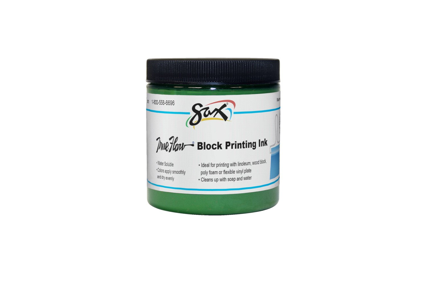 Sax True Flow Water Soluble Block Printing Ink - 8 Ounce Jar - Green by Sax (Image #1)