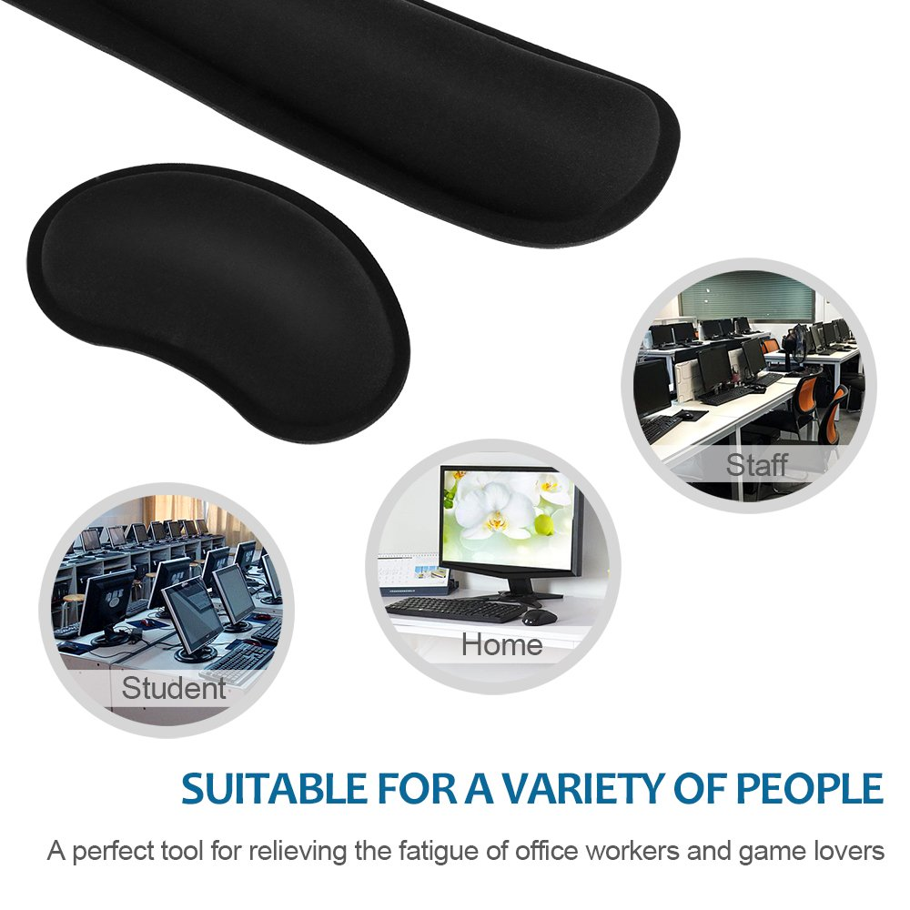HENVREN Memory Foam Keyboard and Mouse Wrist Rest, Lightweight Support Pad for Easy Typing&Pain Relief, Durable&Comfortable Wrist Cushion Fit for Office, Computer and Home by HENVREN (Image #5)