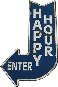UDP Treasure Gurus Big Happy Hour Enter Curved Arrow Vintage Metal Sign