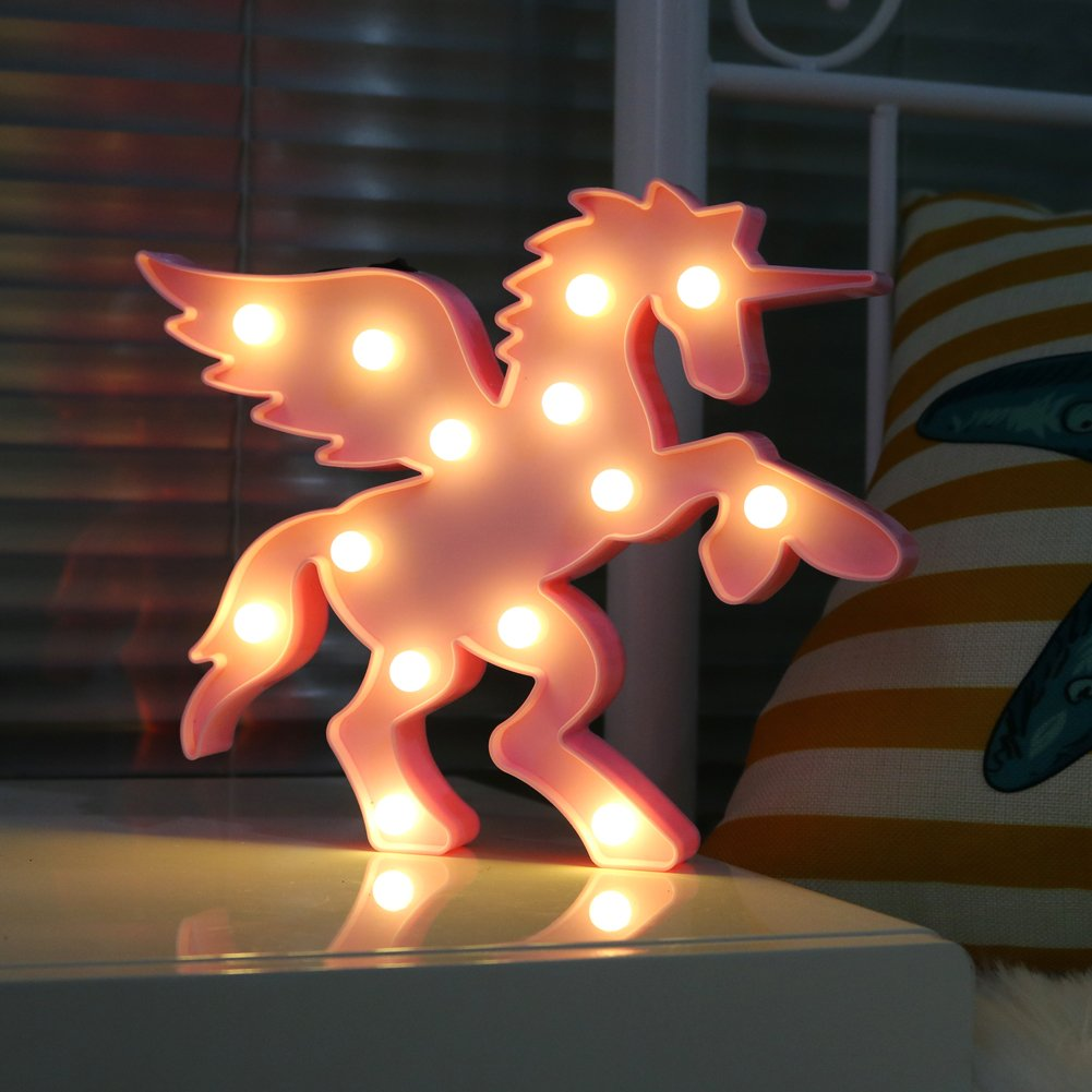DELICORE Plastic Pegasus Unicorn with Wings Night Light Animal Shape LED Marquee Sign, Indoor Decorative Lighting for Kids Children Bedroom, LED Table Lamps Mood Lighting - Pink