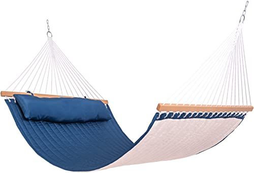 Lazy Daze Hammocks Quilted Fabric Hammock Double Sided Hammock Swing w/Spreader Bar and Pillow