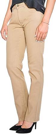Casual Mujer Pantalones – Marrón – Cintura Media Lla Algodón ...