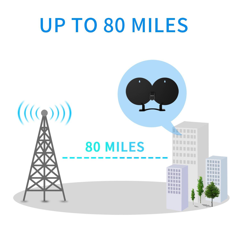Morpilot HDTV-Antennen,Digital Indoor Verstärkte TV-Antenne 80 Mile Range Abnehmbare Verstärker Signal Booster,Doppel-Kupferfolie Digital-Antenne Signalverstärker verbesserte Version