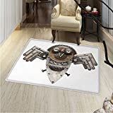 Industrial Print Area rug Stylized Collage with Owl Figure Cog Hardware Gear Machinery Animal Print Perfect for any Room, Floor Carpet 48''x60'' Grey White Brown