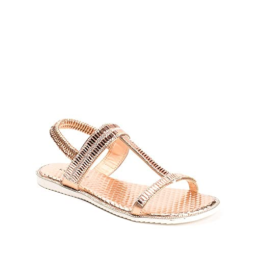 Ideal Shoes , Sandali donna, oro (Oro), 38 EU