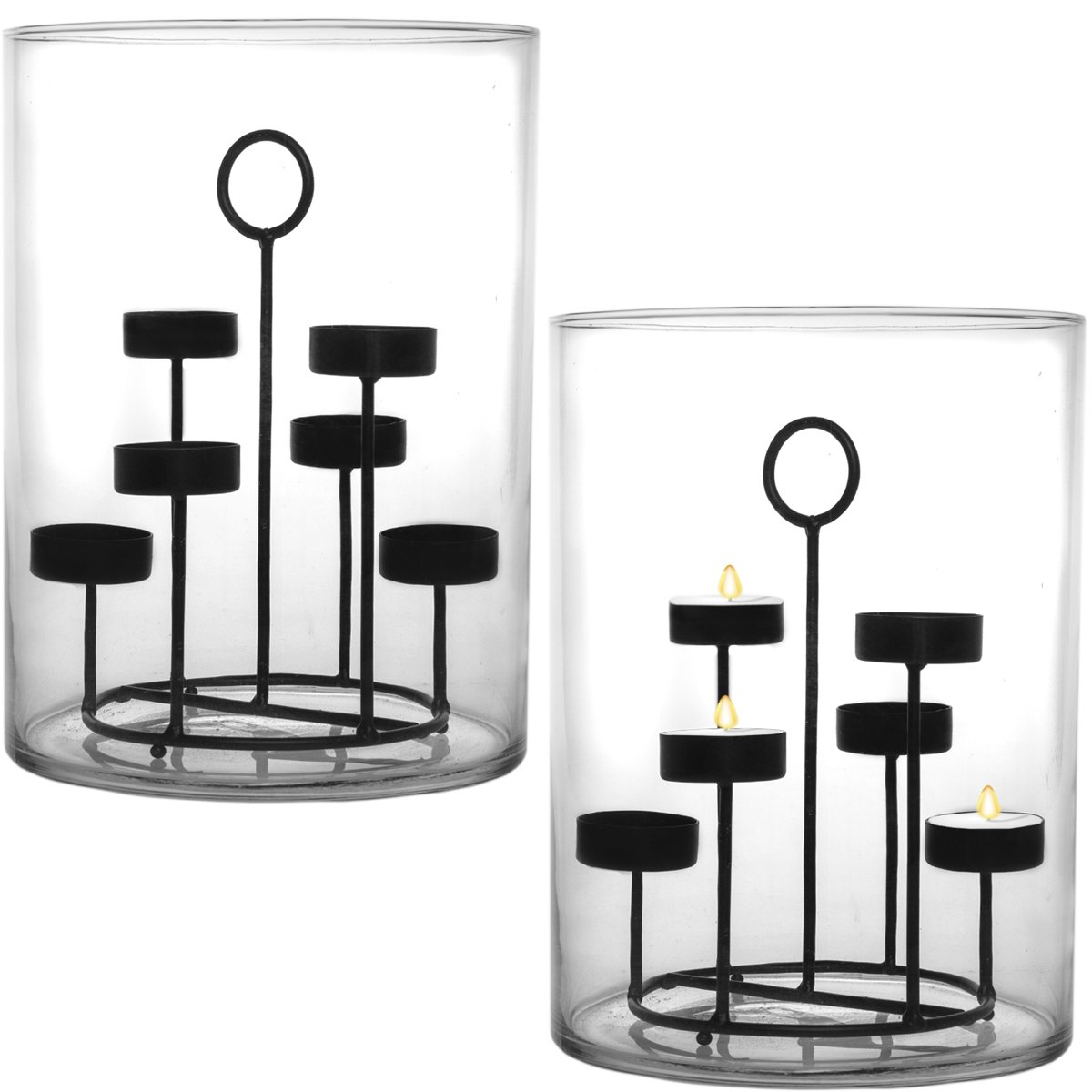 Essential Home 2 Pack Large Glass Hurricane Candle Holder Pillar Centerpieces With Metal Tea Light Set