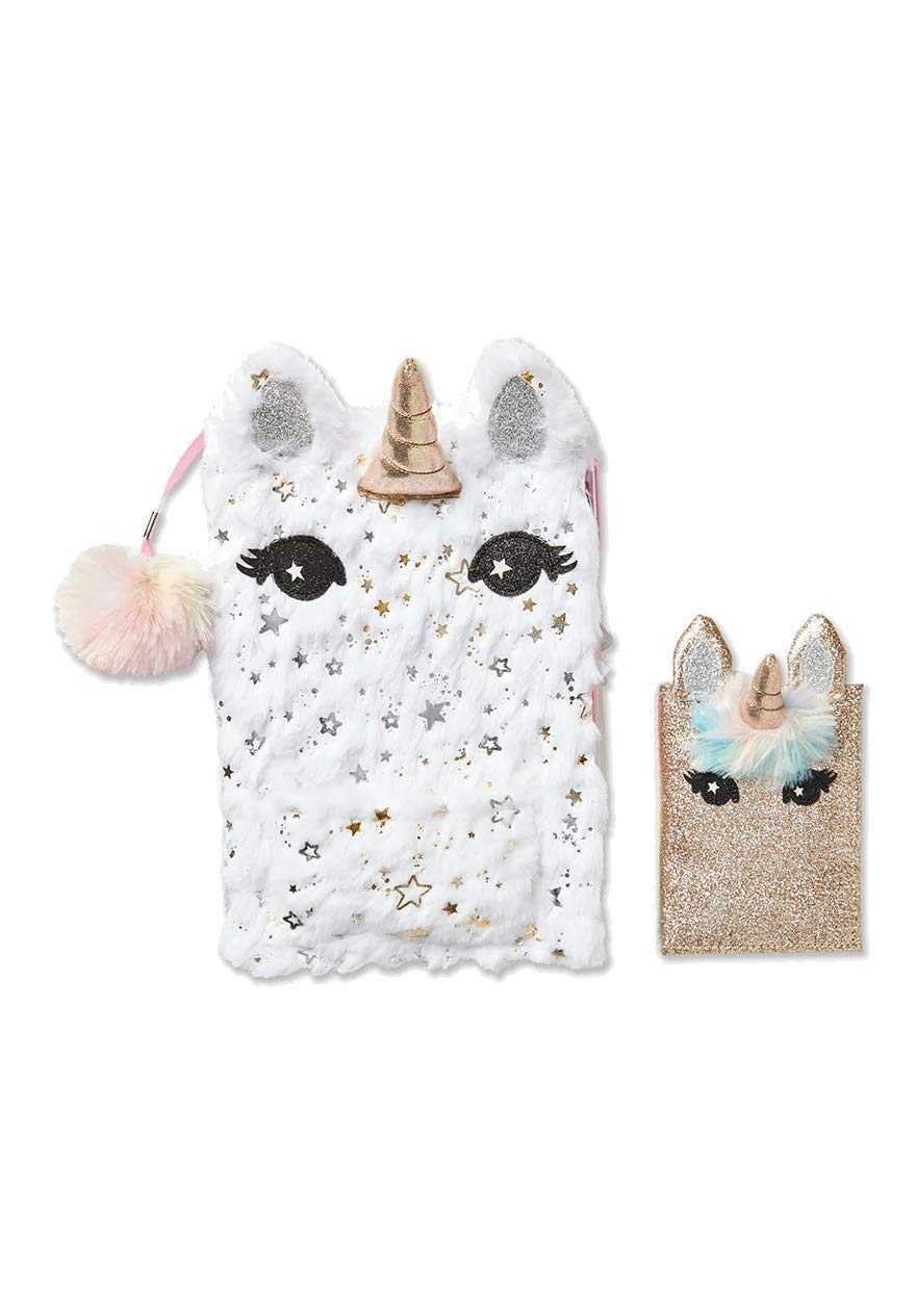 JTS Justice for Girls Unicorn Pocket Faux Fur Journal Diary Set by JTS